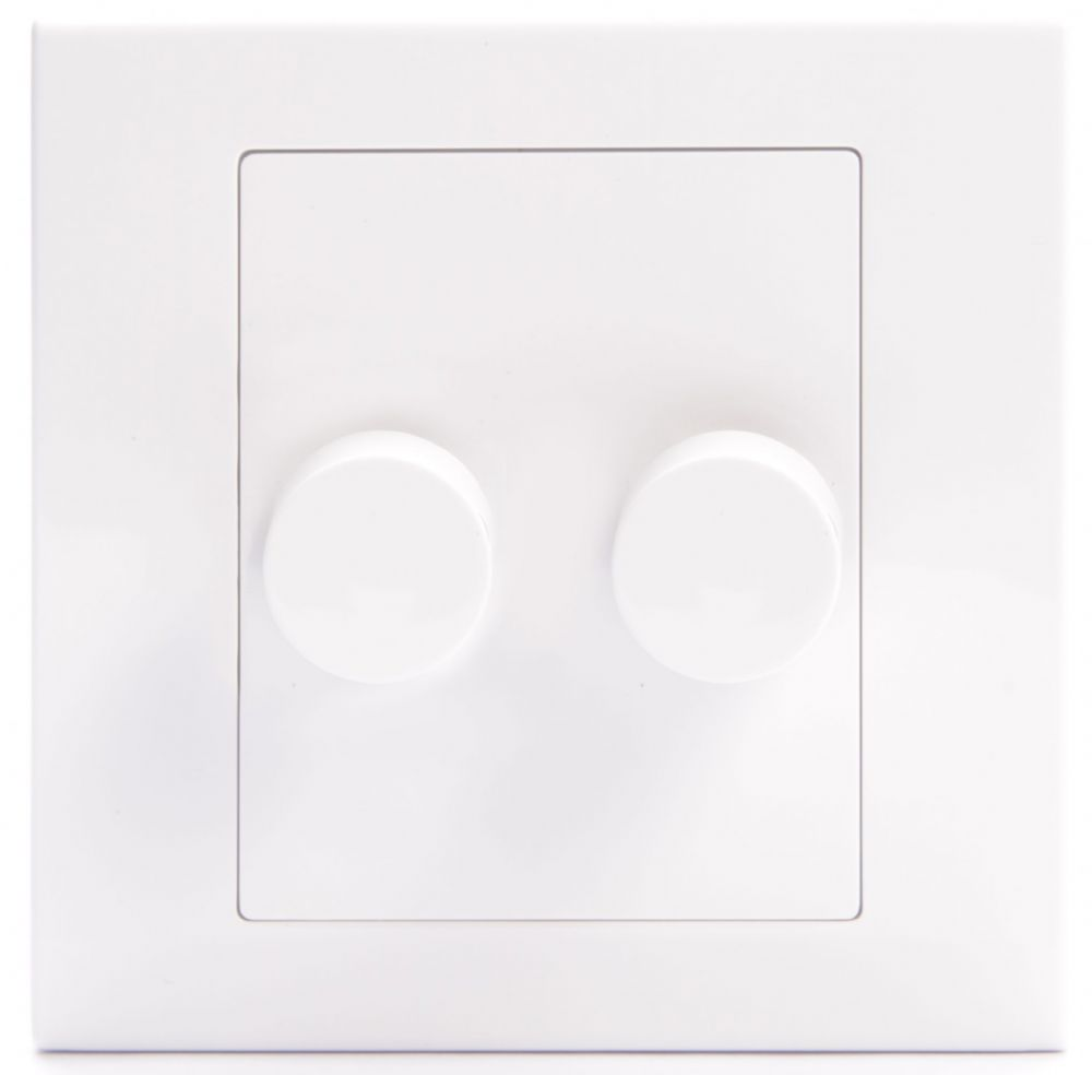 Simplicity White Screwless Rotary 1 Gang LED Dimmer Light Switch